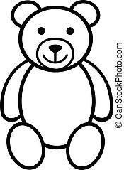 Teddy bear plush toy line art icon