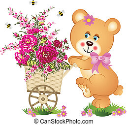 Teddy bear pushing a cart of flower - Scalable vectorial...