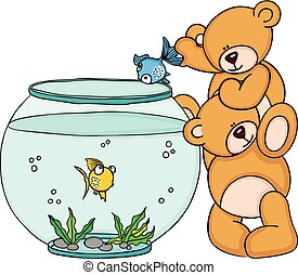 Teddy bear put a blue fish in a aquarium