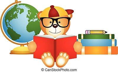 Teddy bear reading book with globe