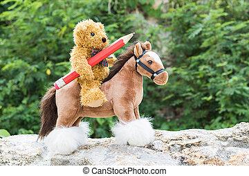 Teddy bear ride a horse in forest - Teddy bear ride a horse...