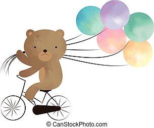 Teddy bear riding a bike with balloons