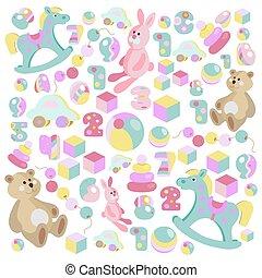 Teddy bear, rocking horse, pink rabbit toys vector set
