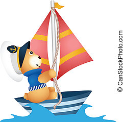 Teddy bear sailor in a boat - Scalable vectorial image...