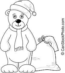 Teddy bear Santa Claus, contours(156).jpg