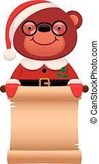 Teddy bear Santa Claus with a scroll Christmas