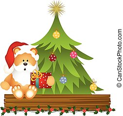 Teddy bear Santa Claus with Christm