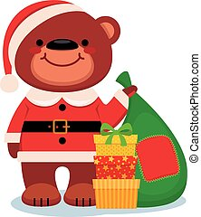 Teddy bear Santa Claus with Christmas gifts