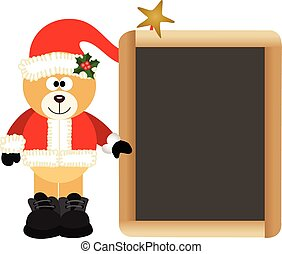 Teddy Bear Santa Claus with School
