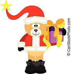 Teddy Bear Santa With Gift
