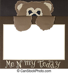 Teddy Bear Scrapbook Frame Template - Me N My Teddy Square...