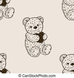 Teddy bear seamless pattern engraving vector