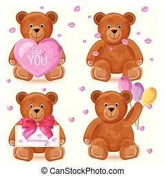 Teddy bear set Vector. Romantic cute cartoon bears lovely symbols in watercolor