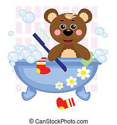 Teddy bear showering in bath