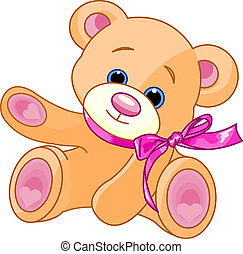 Teddy Bear showing - A rough, painterly child\'s teddy bear...
