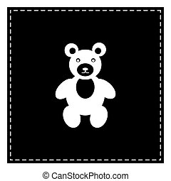 Teddy bear sign illustration. Black patch on white background. I