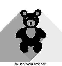 Teddy bear sign illustration. Vector. Black icon with two flat gray shadows on white background.