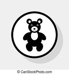 Teddy bear sign illustration. Vector. Flat black icon in white circle with shadow at gray background.
