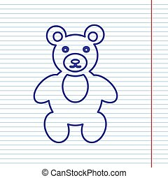 Teddy bear sign illustration. Vector. Navy line icon on notebook paper as background with red line for field.
