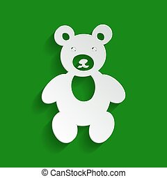 Teddy bear sign illustration. Vector. Paper whitish icon with soft shadow on green background.