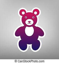 Teddy bear sign illustration. Vector. Purple gradient icon on white paper at gray background.