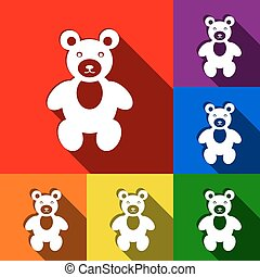 Teddy bear sign illustration. Vector. Set of icons with flat shadows at red, orange, yellow, green, blue and violet background.