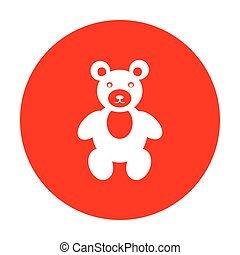 Teddy bear sign illustration. White icon on red circle.