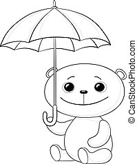 Teddy bear sit under umbrella, contour