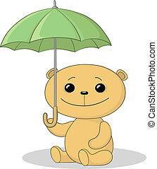 Teddy bear sit under umbrella