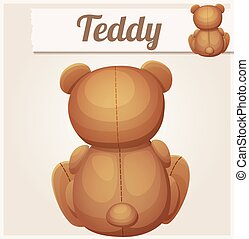 Teddy bear sits back. Cartoon vector illustration