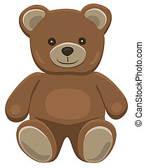 Teddy bear sitting - Basic brown teddy bear in solid colors...