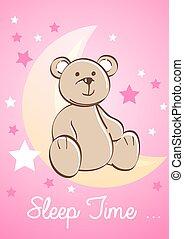Teddy bear sitting on a moon with stars