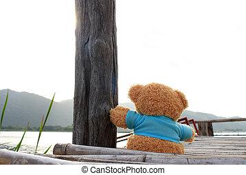 Teddy Bear sitting on bamboo bridge near the lake for waiting someone