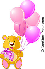Teddy Bear sitting with gift box and pink balloons