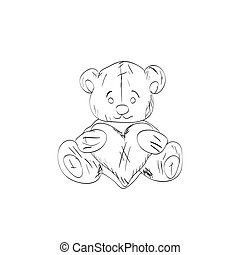Teddy bear sketch. Drawing on a white background