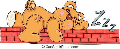 Teddy bear sleeping on red brick wall