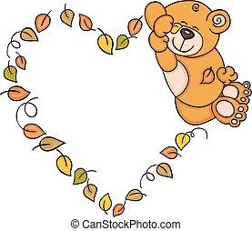 Teddy bear sleeping with fall leaves shaped heart frame