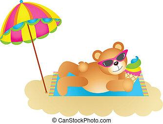 Teddy bear soaking up the sun