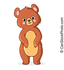 Teddy bear stands on a white background.