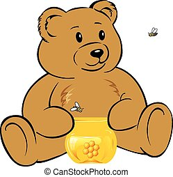 Teddy bear - Toy bear with a jar of honey and bees flying ...