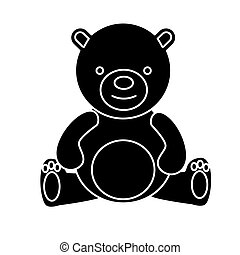 teddy bear - toy icon, vector illustration, black sign on isolated background
