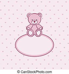 Teddy bear toy pink frame.