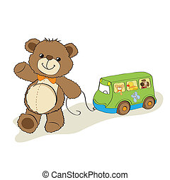 teddy bear toy pulling a bus, cartoon vector illustration