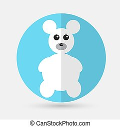 Teddy Bear Toy - Vector icon isolated on a white background