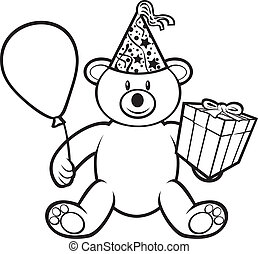teddy bear toy with gift box, birthday hat and balloon (cute...