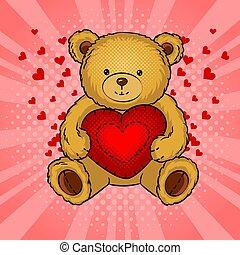 Teddy bear toy with heart pop art vector