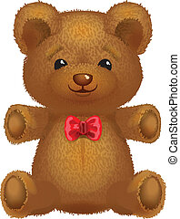 Teddy bear vector brown with a red bow.