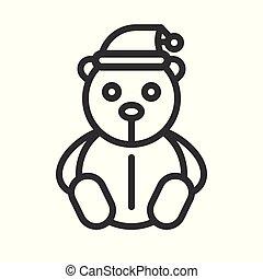 Teddy bear vector, Christmas related line style icon