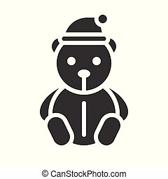 Teddy bear vector, Christmas related solid style icon