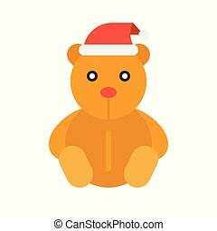 Teddy bear vector, Christmas style flat style icon